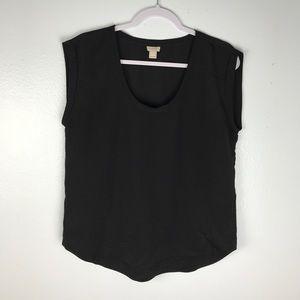 J Crew Factory Black Short Sleeve Blouse